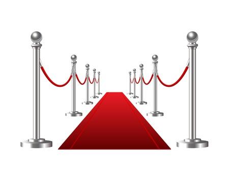 vermelho: Evento com Tapete vermelho isolado em um fundo branco ilustra��o vetorial