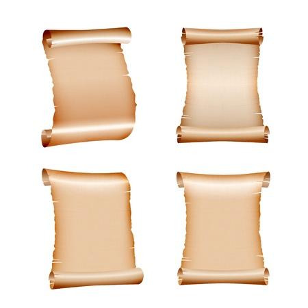 Conjunto de rollos de papel viejo en blanco sobre fondo blanco Ilustración Ilustración de vector