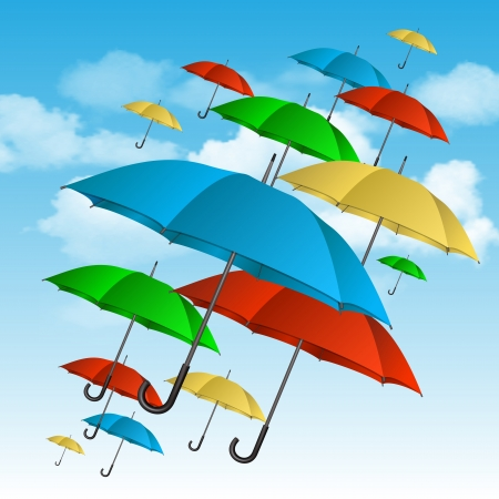 rainy season: colorful umbrellas flying high  Vector illustration