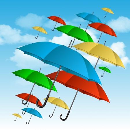 rainy sky: sombrillas de colores que vuelan arriba ilustraci�n vectorial Vectores