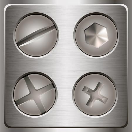Satz Schrauben und Muttern auf Metall Hintergrund Vektor-Illustration