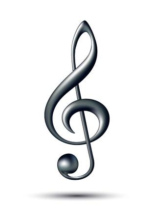 nota musical: Clave de sol aislados sobre fondo blanco Ilustración vectorial