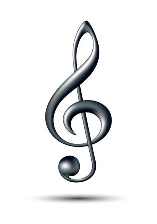 Treble clef isolated on white background  Vector illustration
