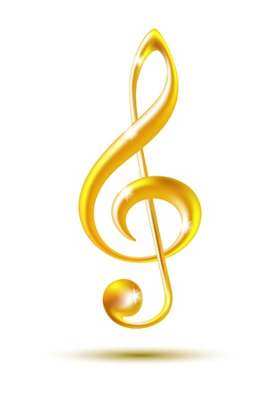 bass clef: Gold treble clef isolated on white background  Vector illustration