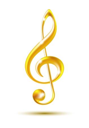Gold Violinschlüssel isoliert auf weißem Hintergrund Vektor-Illustration