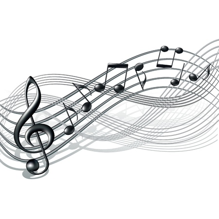 Musical notes staff background on white  Vector illustration