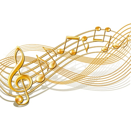 Gold musical notes staff background on white Vector illustration