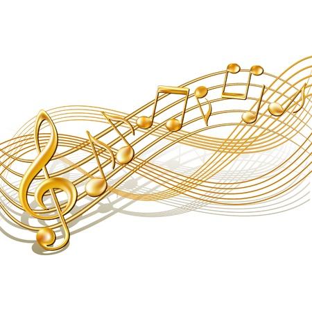pentagrama musical: Oro notas musicales personal de fondo en blanco Ilustración vectorial