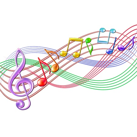 Colorful musical notes staff background on white  Vector illustration