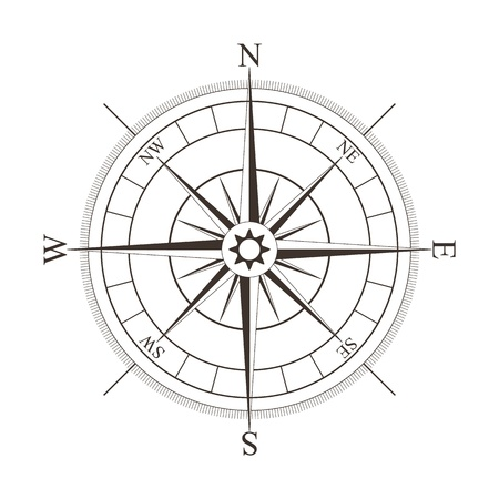 Black compass rose isolated on white - vector illustration Illustration