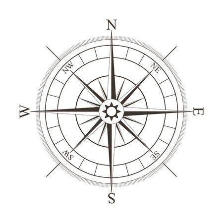 Black compass rose isolated on white - vector illustration Illustration
