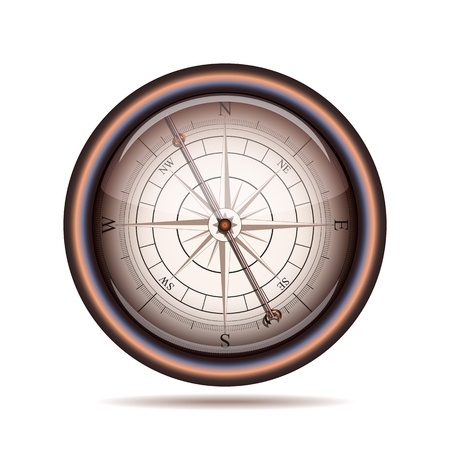 Old compass on white background  Vector illustration Vector