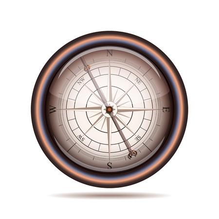 Old compass on white background  Vector illustration Illustration