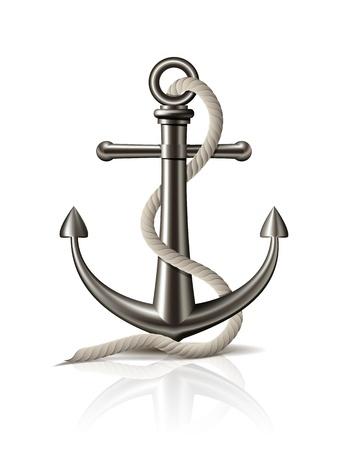 Anker mit Seil auf weißem Hintergrund Vektor-Illustration