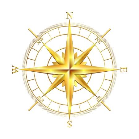 ベクトル イラスト白の背景に分離されたゴールデン コンパス ローズ