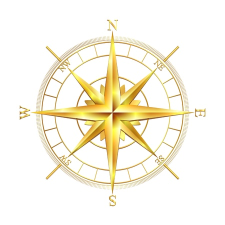 wind: Golden compass rose, isolated on white background  Vector illustration