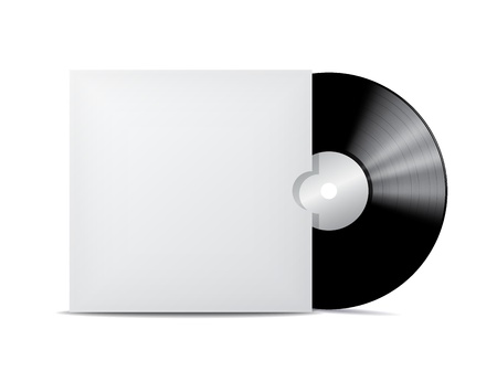 Vinyl record in blank cover envelope  Vector illustration