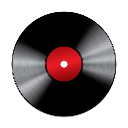Schwarzes Vinyl-Schallplatte auf weißem Hintergrund Vektor-Illustration Standard-Bild - 20057864