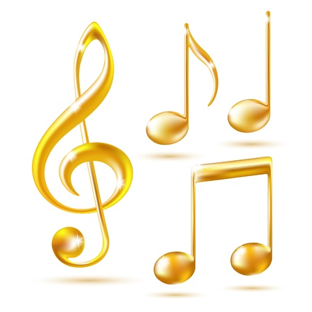 play music: Gold icons of a Treble clef and music notes illustration
