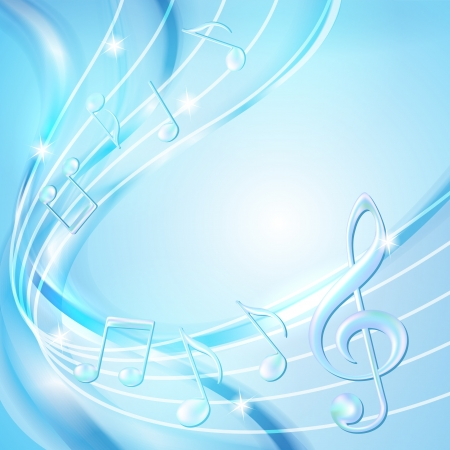 Blue abstract notes music background illustration Illustration