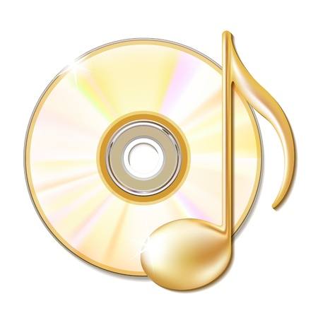 compact disk: Gold musical note and cd disk - music icon illustration