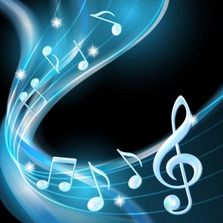 notes musicales: Blue r�sum� des notes de musique illustration de fond Illustration