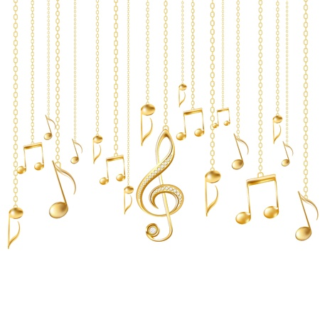 bijouterie: Card with musical notes and golden treble clef on a white background illustration Illustration