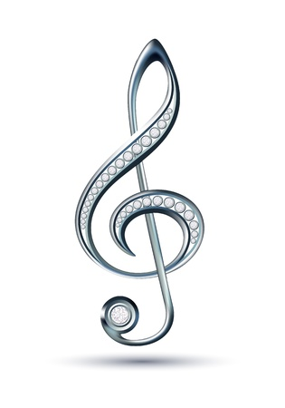 Silver treble clef with diamonds isolated on the white background illustration Vector