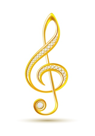 Golden treble clef with diamonds isolated on the white background  Vector illustration Vector