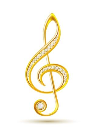 violinschl�ssel: Goldener Violinschl�ssel mit Diamanten auf dem wei�en Hintergrund Vektor-Illustration