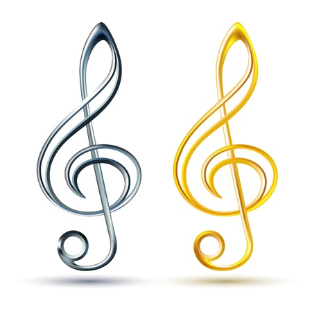 treble clef: Gold and silver treble clef on white background, illustration Illustration