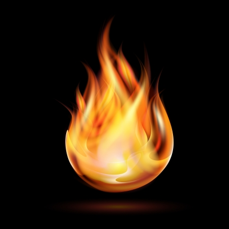 fireballs: Symbol of fire on dark background illustration