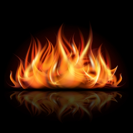 Fire on dark background illustration Ilustrace