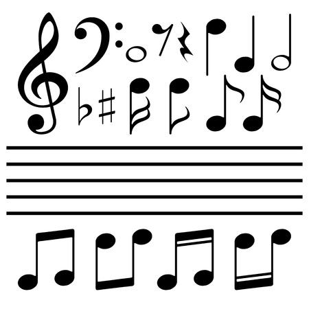 notas musicales: Conjunto de iconos de nota de la m?sica