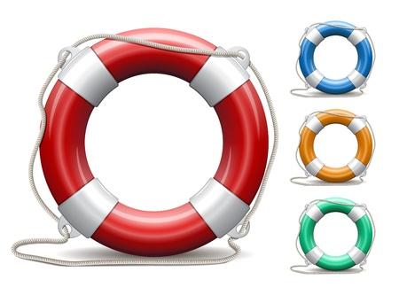 vida: Juego de aros salvavidas en el fondo blanco Ilustración