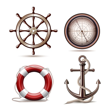 ancla: Conjunto de símbolos marinos sobre fondo blanco Ilustración Vectores