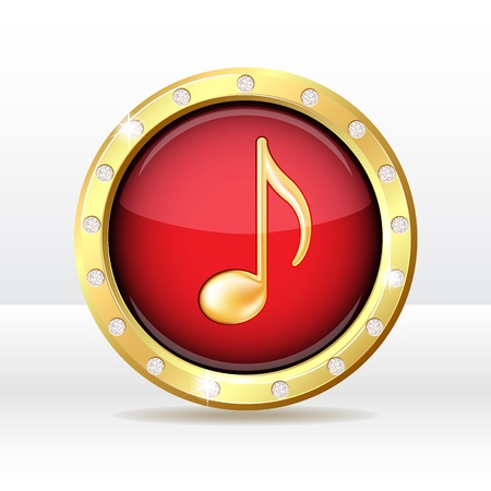 old button with musical note sign  Music icon illustration Vector
