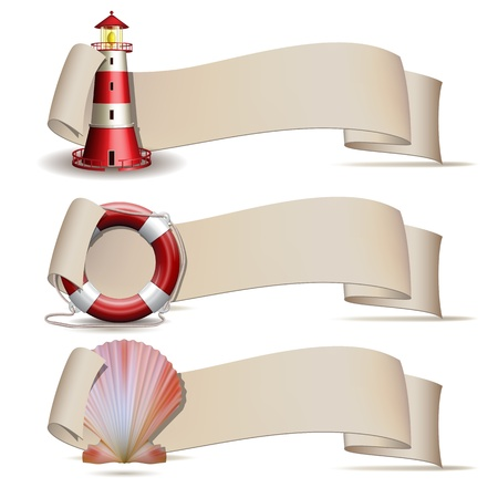 Lighthouse: Set of banners with marine icons illustration