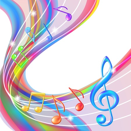 festival: Colorful abstract notes music background illustration