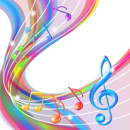 cantando: Resumen colorido notas de la m?a de fondo ilustraci?