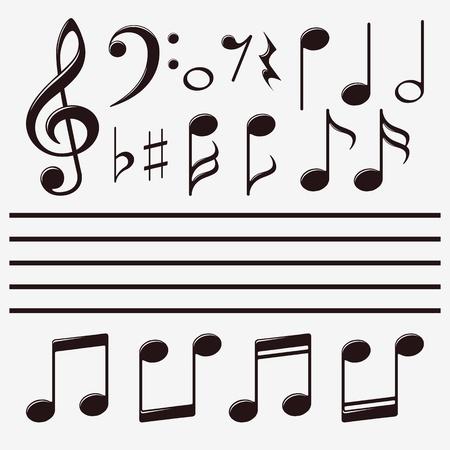 clave de fa: Conjunto de iconos de nota de la música Vectores