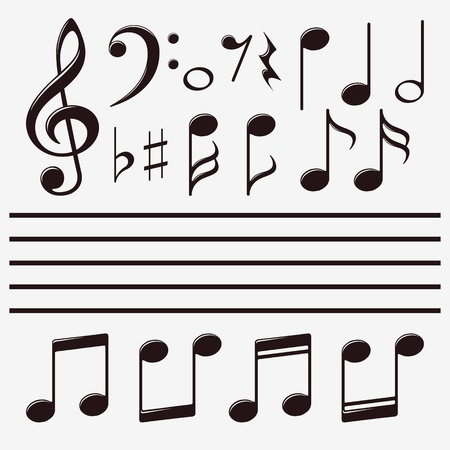 icons set music note Stock Vector - 20276270