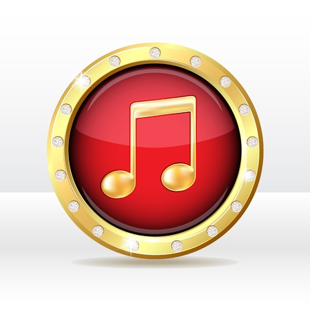 Gold button with musical note sign  Music icon illustration Vector