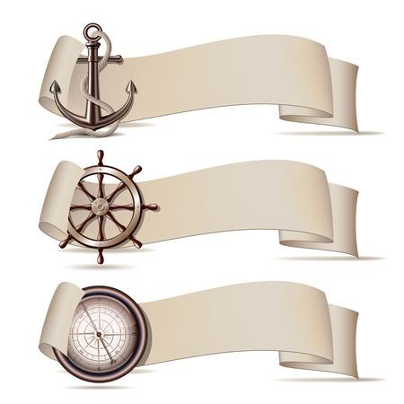 timone: Set di banner con icone marino illustrazione Vettoriali