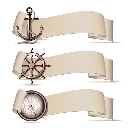 steering: Set of banners with marine icons  illustration