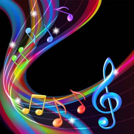 다채로운 추상 노트 음악 배경 일러스트 레이션