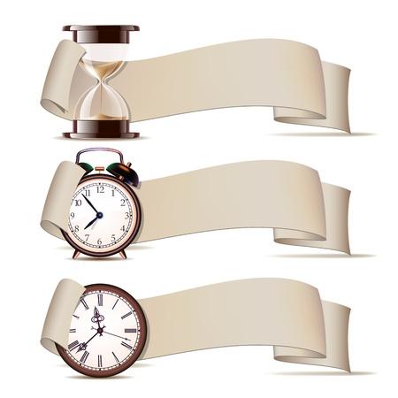 reloj de arena: Juego de banderas con los relojes. Ilustraci�n vectorial