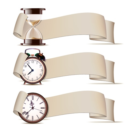 Set of banners with clocks. Vector illustration