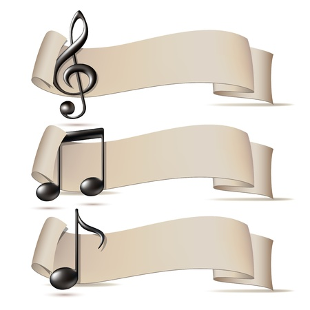 Satz von Banner mit Musik-Ikonen. Vektor-Illustration