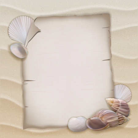 Shells and blank paper sheet. Vector illustration Vector
